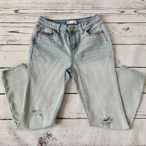 RSQ Light Wash Distressed Girlfriend Jeans Size 12